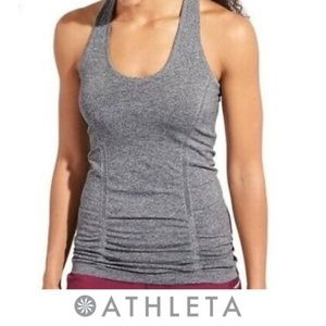 Athleta Fastest Track Tank Racer Back Gray Ruched